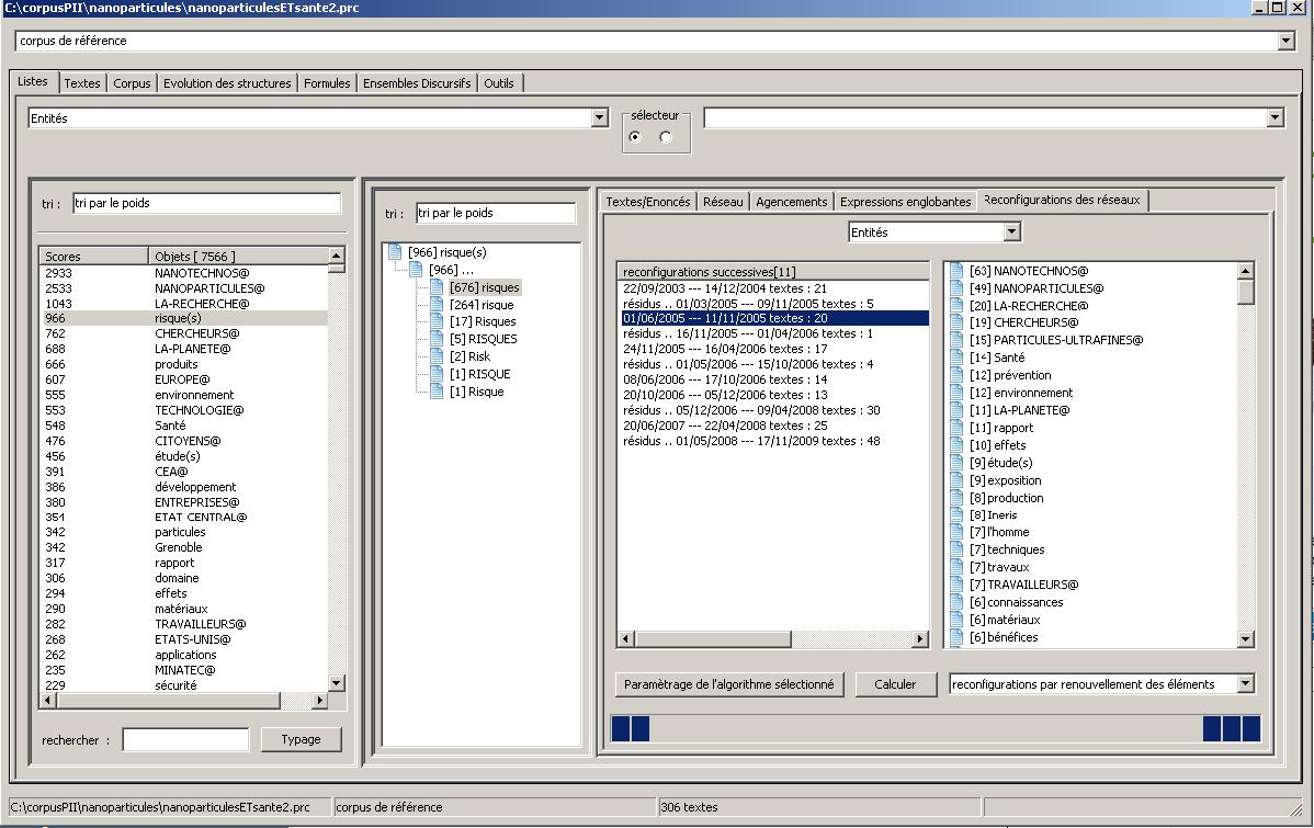 Interface de Prospéro II - Fenêtre d'accès par les entités  et la reconfiguration des réseaux