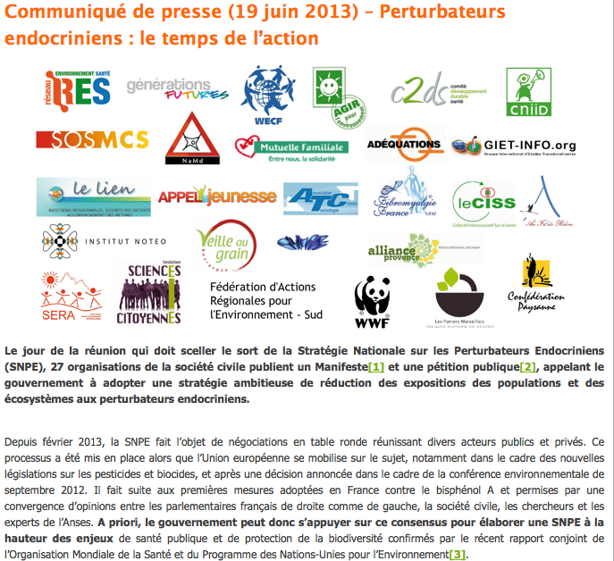 Perturbateurs endocriniens : le temps de l'action Communiqué de presse du 19 juin 2013